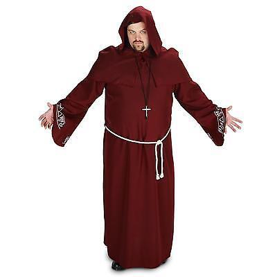Renaissance Monk Robe - Mens Deluxe Monk Costume Robe Belt Cross Adult Renaissance Medieval L Halloween