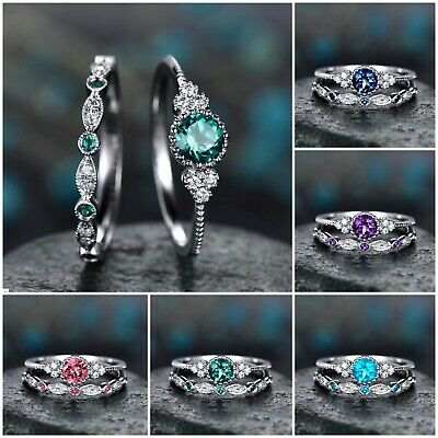 2pcs/set Women's Wedding Set Rings 925 Silver Round Cut Emerald Ring Size 5-10 2 Ring Wedding Set