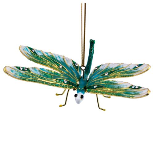 Cloisonne Enameled Metal Articulated Dragonfly Ornament Moving Wings Turquoise