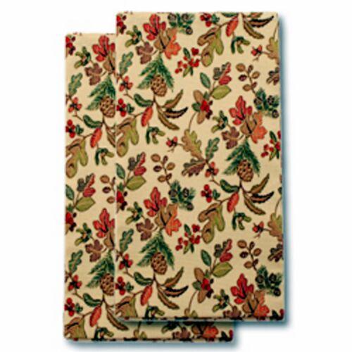 Longaberger NAPKINS Fabric Set of 2 - AUTUMN PATH  New - Falling Leaves - Pretty
