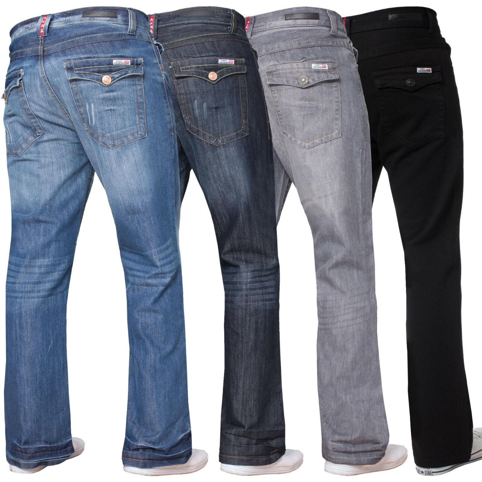 Uomo Bootcut Jeans Gamba Larga Svasato Lavoro Casual Originale apt Big Re Taglie