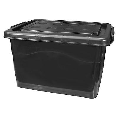 Kunststoff-behälter Mit Deckel (Ordnungsbox mit Deckel 40L schwarz Aufbewahrungskiste Plastikbehälter Kunststoff)