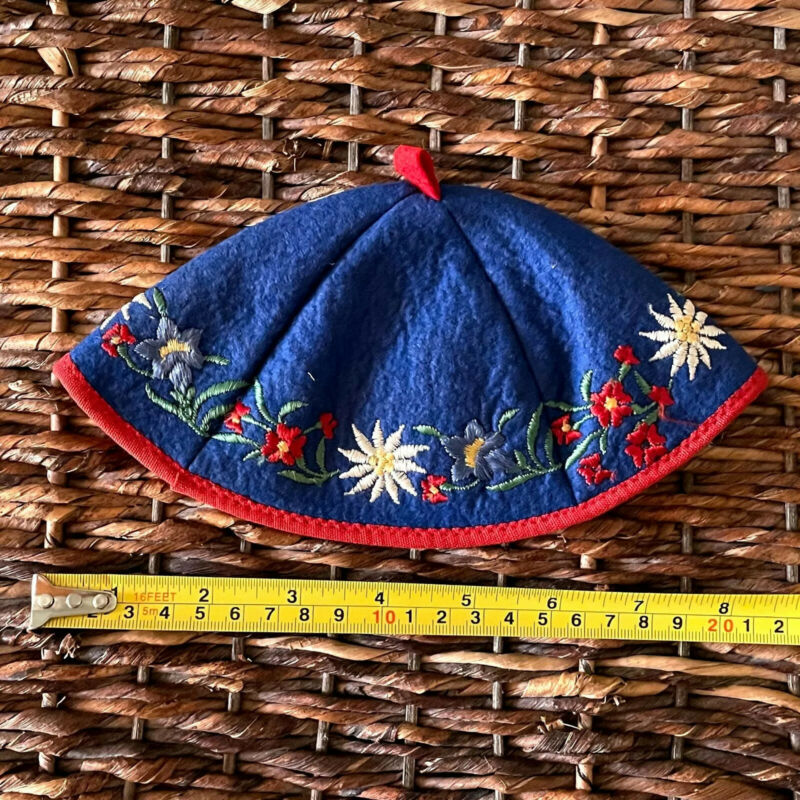 Vintage Handmade Boys Kippah Yarmulke Blue Felt Orig Owner WWII Era German Jew