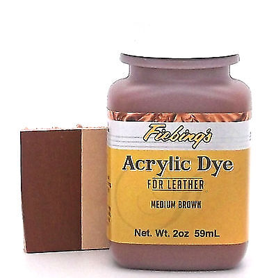 Fiebing's Acrylic Leather Dye Medium Brown Paint 2 oz. (59mL) 2604-03 ACRD27P002