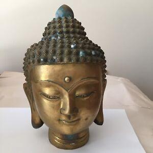Old Tibetan Brass Buddha Head
