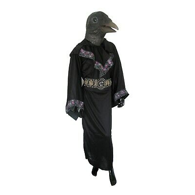 Masked Magician Halloween Costume (Crow Raven Mask & Hooded Robe Evil Wizard Adult Halloween)