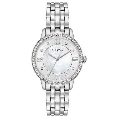 Bulova Women's 96X138 Quartz Roman Numeral Crystal Accent Silver 30mm Watch
