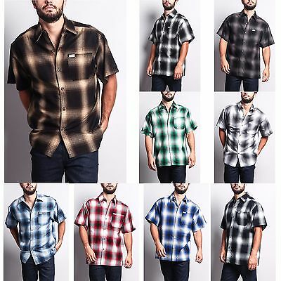 Men's Western Casual Old School Plaid Flannel Short Sleeve Button Shirt   (Western Plaid Button)