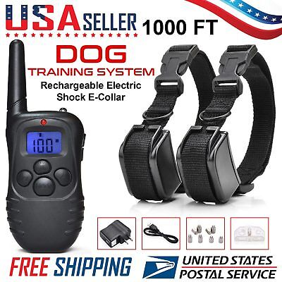 2 Dog Shock Training E Collar With Remote Coach Electric Trainer Small Large Big