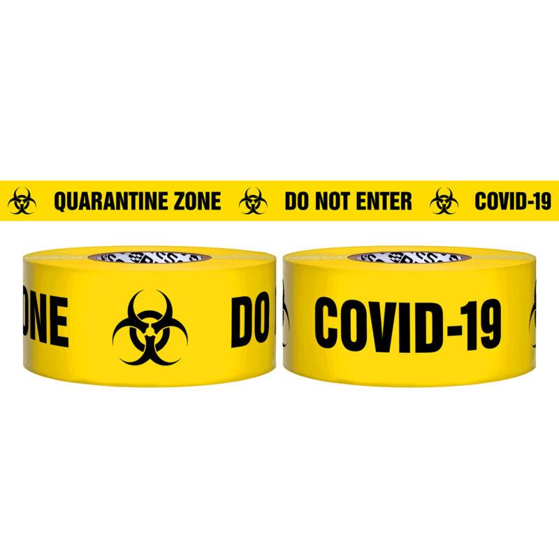 Presco 3 Mil Barricade Tape: 3 in. x 1000 ft. (QUARANTINE ZONE COV-19)