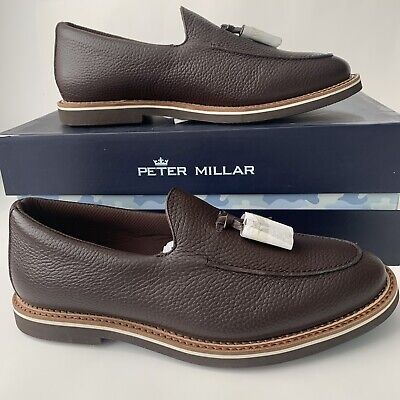 Peter Millar Crown Tassel Loafer Mens Size 8.5 Brown Pebbled Leather MS19F21