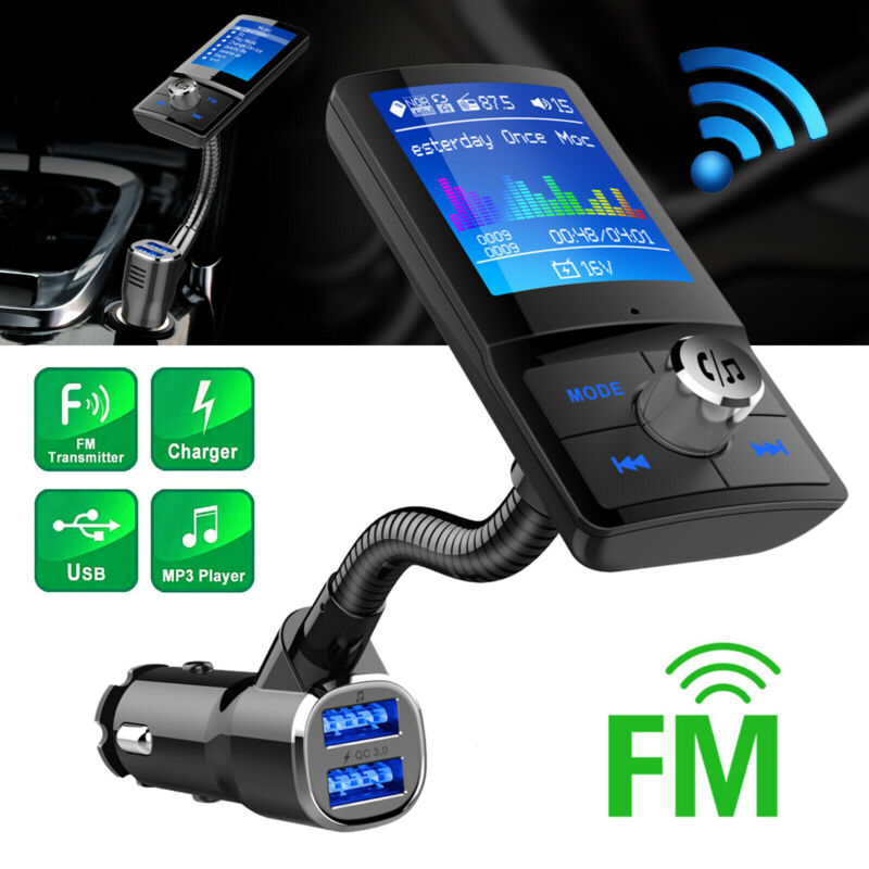 Wireless Bluetooth4.2 Auto Handsfree Car FM Transmitter Dual USB Charger Adapter