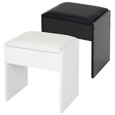 Sgabello sedia per tavolo cosmetico trucco poggiapiedi bianco / nero con cuscino