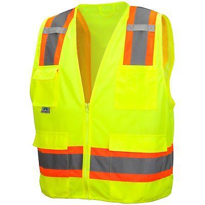 Pyramex Class 2 Two-tone Surveyor Safety Vest Yellowlime