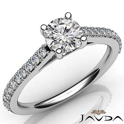 French V Pave Round Natural Diamond Engagement Cathedral Ring GIA E VVS1 0.8 Ct