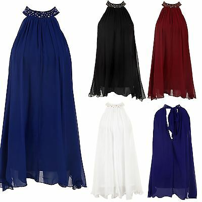 Women's Pleated Gathered Chiffon Tie Back Studded Collar Band Ladies Flare Top ()