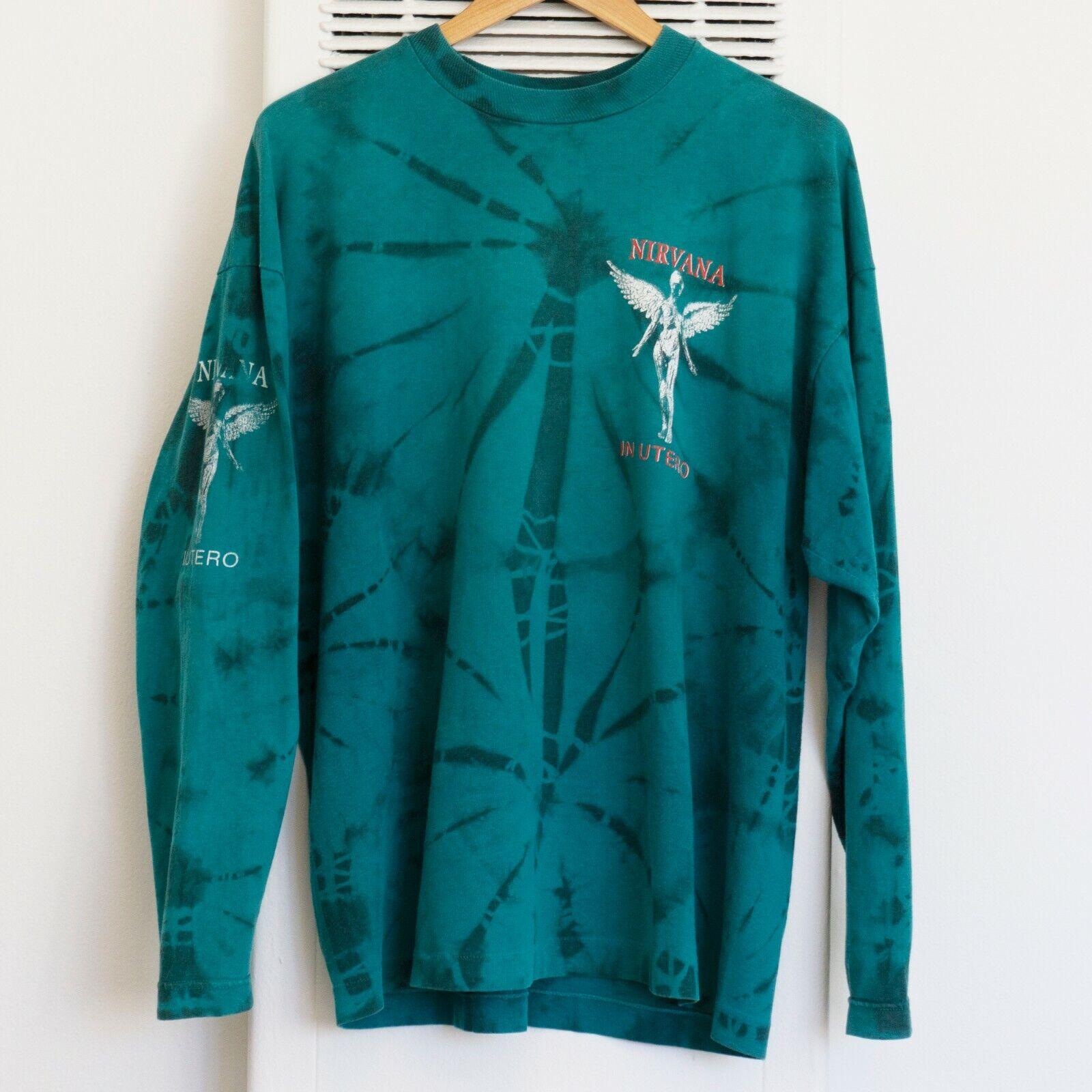 "Vintage 90s Nirvana ""In Utero"" Long Sleeve T-shirt Tie Dye Bjork Dinosaur Jr"