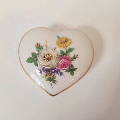 Vintage 1942, M. Elfinware Porcelain Heart, Trinket Jewelry Box, Made in Germany