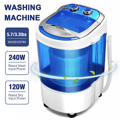 7LBS Mini Carriable Compact Washing Machine Semi-Automatic Spin Washer Blue