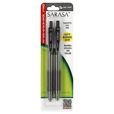 Zebra Sarasa Gel Retractable Pen Medium Point 0.7 Mm Black Ink - 2 Pens