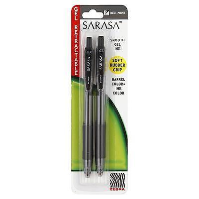 Zebra Sarasa Gel Retractable Pen Medium Point 0.7 Mm Black Ink - 2 Pens