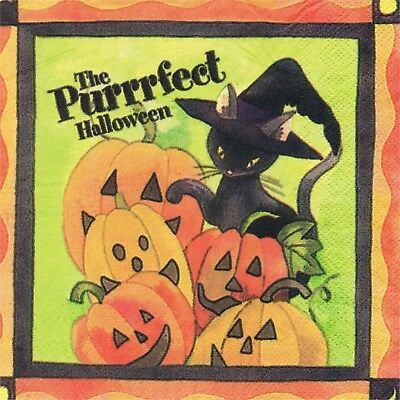 ER HALLOWEEN CHAT USA. 3 PAPER NAPKINS HALLOWEEN CAT PUMPKIN (Halloween En Usa)