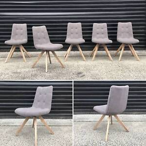 DOC BROWN FABRIC DINING CHAIRS - GREY OR LATTE FABRIC (NEW) Dandenong South Greater Dandenong Preview
