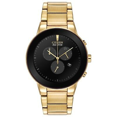 Citizen Men's Eco Drive Axiom Chronograph Gold Tone 43mm Watch AT2242-55E