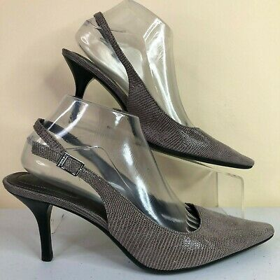 Calvin Klein Day Gray Pointed Toe Slingback Dress Pump Buckle Shoes Womens 8.5M