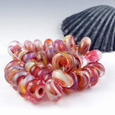 """8 Handmade Lampwork Glass Beads, Artist made Beads - """"Caramel Cherry"""""""