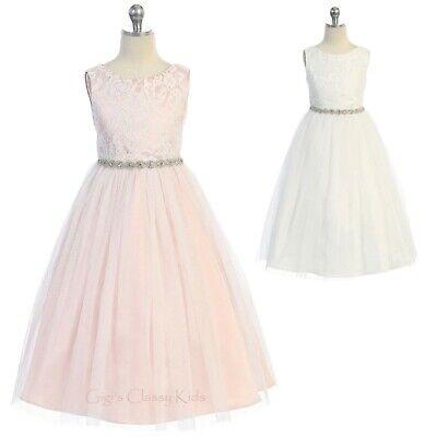 Flower Girl Lace Glitter Long Dress Wedding Party Dance Easter Formal Open Back](Flower Girl Long Dresses)