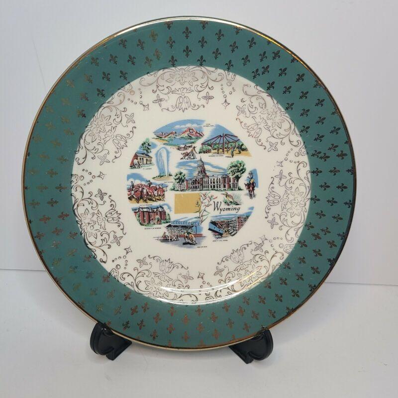 WYOMING Vintage Ceramic Souvenir Landmark State Plate
