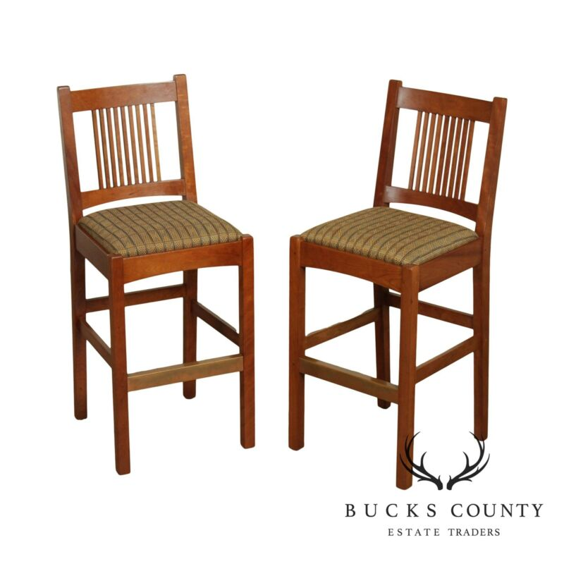 Stickley Mission Collection Cherry Pair Spindle Bar Stools