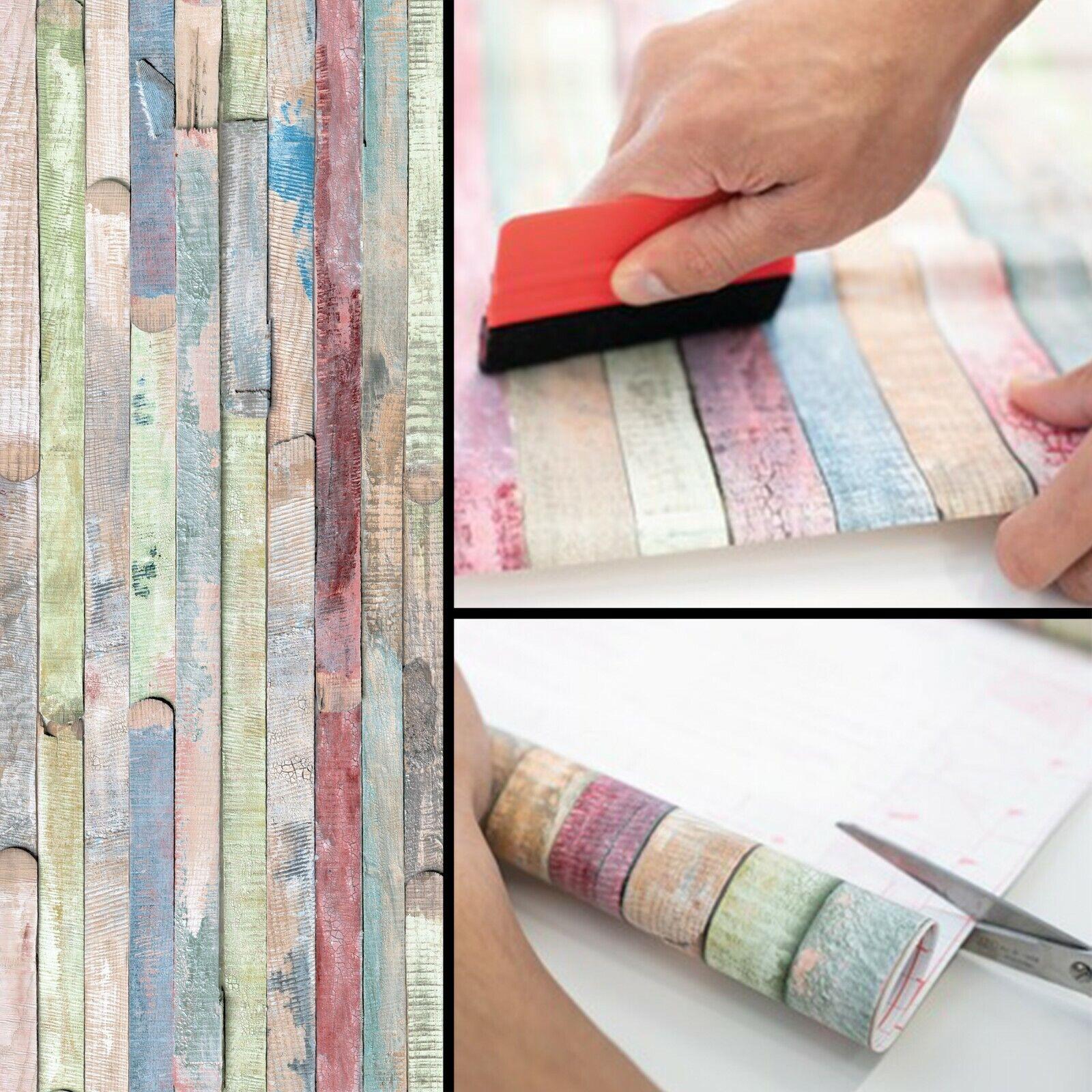 Möbelfolie 6€/m² Rio Bunte Planken Holz Folie selbstklebende d-c-fix Fototapete