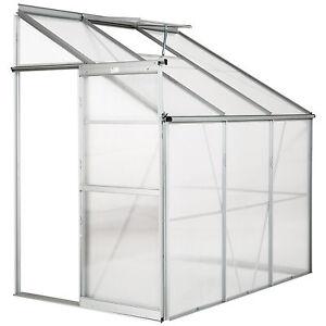 Lean to greenhouse polycarbonate aluminium grow plants growhouse garden 4,09m³