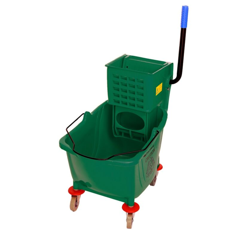 Alpine Industries 36 Quart Green Down Press Commercial Combo Mop Bucket