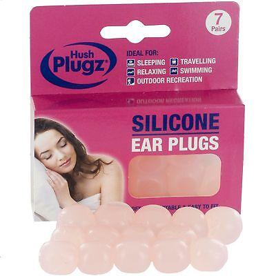 7 Pairs - Soft Silicone Earplugs - GENUINE Hush Plugz Ear Plugs Custom Moldable
