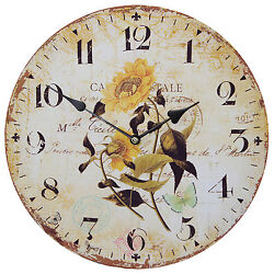TKF 13 Wall Clock with Helianthus Sunflowers French Style Rustic Prints