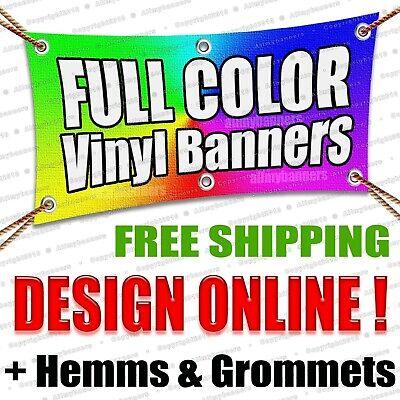 2x8 Custom Vinyl Banner 13oz Full Color Free Design Included