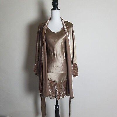 Little Giraffe Small Satin Velvet Burnout Gown Robe Cover up Peignoir Set -