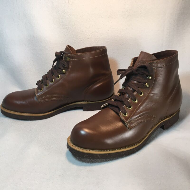 Vtg SEARS ROEBUCK Wearmaster Brown Leather Lace Up Boots Mens Size 8