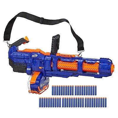 NERF Elite Titan CS-50 Toy Blaster Gun, Fully Motorized, 50-Dart Drum, 50 Darts