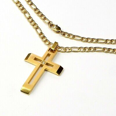 Titanium Steel 18K Gold plated beveled cross & Stainless Figaro necklace chain 18k Titanium Necklace