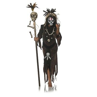Adult Womens Voodoo Witch Doctor Dark Magic Hex Halloween Costume Dress S M L XL