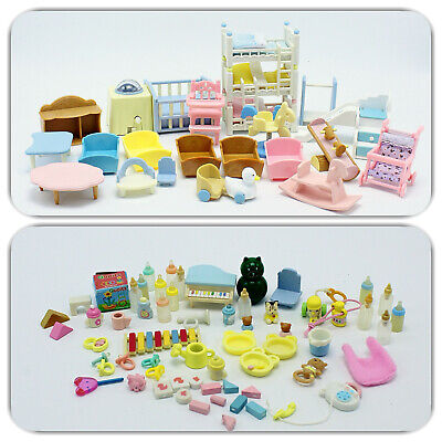 Sylvanian Families  / Calico Critters Nursery Furniture Lot A Beds,Toys, & more