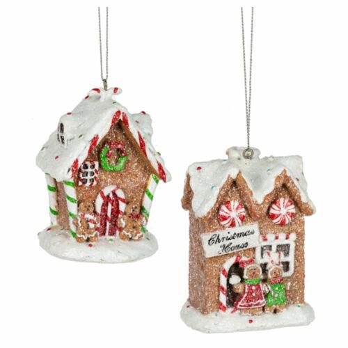"Set/2 3.25"" GANZ Gingerbread House Candy Christmas Tree Ornaments Vntg Decor"