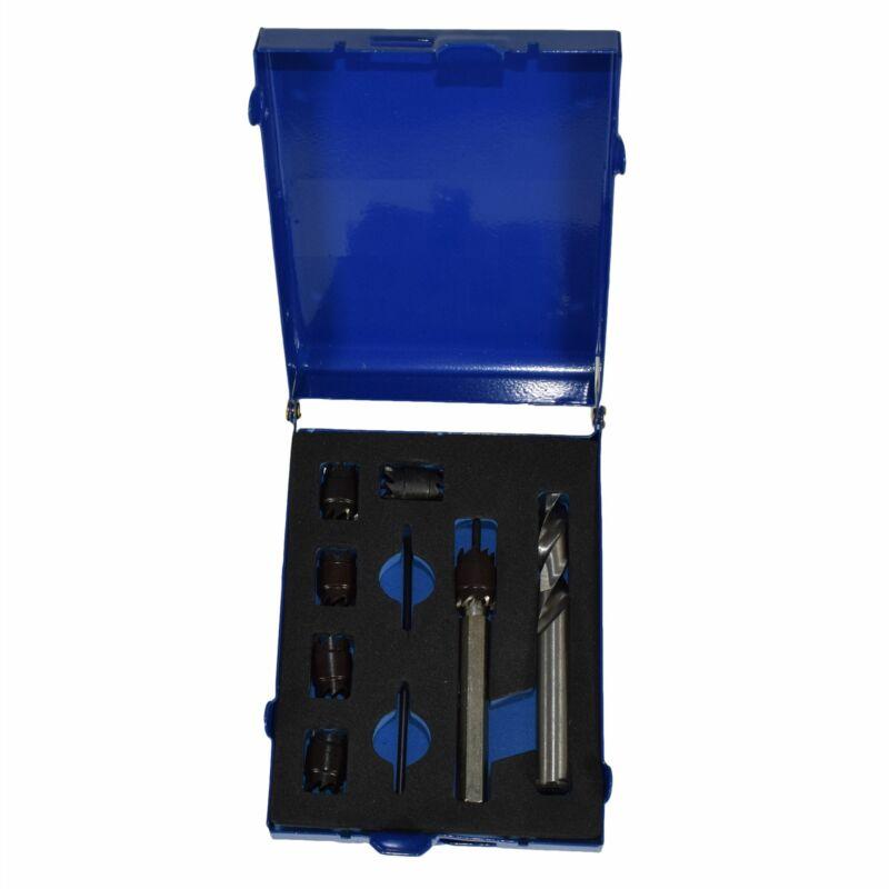 HSS Cobalt Spot Weld Cutter And Drill Set 8 - 9.5mm Interchangeable Heads 9pc