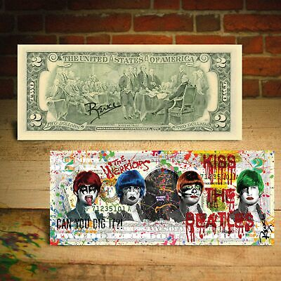 KISS THE BEATLES Baseball Fury Brooklyn $2 US Bill Pop Art HAND-SIGNED by Rency