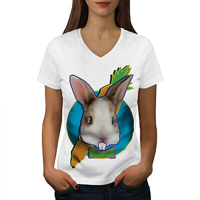 Wellcoda Bunny Face Cute Animal Womens V-Neck T-shirt, - Bunny Face Design