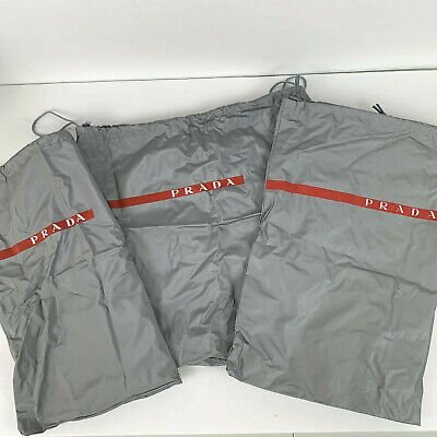 3 x Prada Dust Bag Vinyl Large Gray Silver Drawstring Purse Shoes Handbag Storag